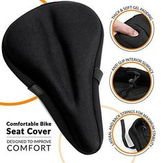 Most Comfortable Exercise Bike Seat Cushion [ SOFT GEL PAD ] - Universal Bicycle Saddle Cover for Women and Men - Fits Indoor Cycling, Spinning, Stationary, Touring ,Road and Mountain Bikes #seatcovers #bikeseat #ExerciseBikes