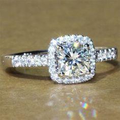 A Perfect 1.9CT Asscher Cut Halo Russian Lab Diamond 14K Gold Ring