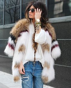 Faux fun jacket, denim, ripped jeans, white shirt, coat, street-style, trend