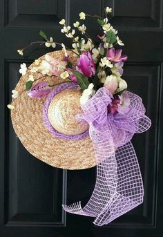Beautifully decorated Floppy Hat used as a wreath💜💛💚💙🧡💘💖💓💞🖤💕