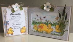 Handmade card by DT member Neline with Creatables Rubber Duck (LR0333), Tiny's Cattails (LR0409), Craftables Grass (CR1355), Stitched Waves & Clouds (CR1361), Square & Flower Stitch (CR1249), Clear stamps Hetty's Ducks (HT1615) and Border Flower Meadow (HT1613) from Marianne Design