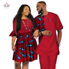 Image of African Men and Women Ankara print couple dress, african clothes for boyfriend,girlfriend wedding Dress and men suit o-neck men two piece set dashiki short sleeve cloth plus
