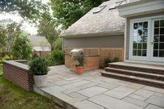 Pergola With Fireplace Product Patio Steps, Concrete Patios, Backyard Patio Designs, Small Backyard Landscaping, Stone Backyard, Landscaping Ideas, Backyard Ideas, Garden Ideas, Decks