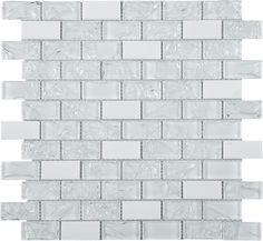 Brick Pattern White Glass & Marble Mesh Mounted Mosaic Tile #brick_pattern_mosaic_tile #mesh_mounted_mosaic_tile Stone Mosaic Tile, Mosaic Glass, White Wall Tiles, Glass Brick, Glass Installation, Glass Subway Tile, Feature Tiles, Brick Design, Brick Patterns