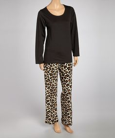 Love this Black Leopard Knit Pajama Set - Women by Aegean Apparel on #zulily! #zulilyfinds