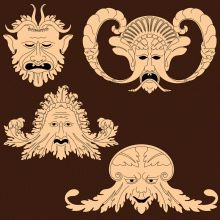 Grotesques from carved panels