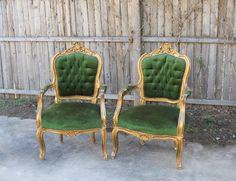 """Angela & Ben"" Green + Gold Arm Chairs (2) $75 each"