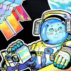 Look up in the sky #space, #cat, #astronaut, #cosmonaut, #ISS, #spacesuit, #Earth, #camera, #stars, #planet, #galaxy, #universe, #spacewalk, #psychedelic, #rainbow, #antropomorph, #kitty, #kitten, #man, #alien, #Roskosmos, #Russia, #sky, #rocket, #outerspace, #cosmos #МКС #Роскосмос #космонавт #Россия #скафандр #орлан #кот #котик  #открытыйкосмос  #Земля  #космос