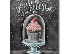 Cupcake arte lavagna, stampa di Cupcake, San Valentino, amore segno, Cupcake Stand, arte del gesso, tu sei la più dolce, segno del forno
