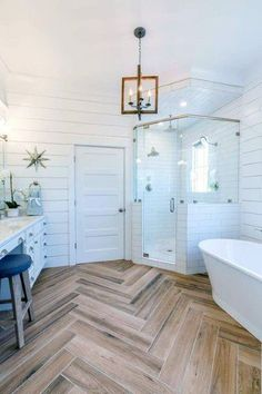 Fabulous Farmhouse Bathroom Design And Decor For Remodel Ideas Fabulous Farmhouse Bathroom Design And Decor For Remodel Ideas,Home Interior & Decoration Georgeous Farmhouse Master Bathroom Ideas Related posts:Easter wreath yourself do sew. Bathroom Renos, Bathroom Interior, Small Bathroom, Wood Floor Bathroom, Shiplap Bathroom, Neutral Bathroom, Wood Tile Shower, Budget Bathroom, Light Bathroom