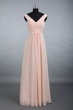 Chiffon Bridesmaid Dress Straps Vneck Long Chiffon by DressbLee, $119.00