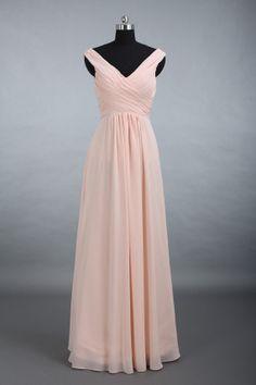 Chiffon Bridesmaid Dress Straps Vneck Long Chiffon by DressbLee, $119.00