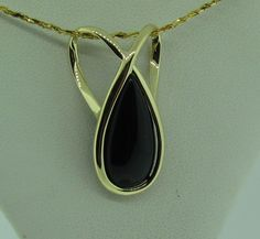 Vintage 14 K gold and Onyx pendant slide. by VintageJewelryBazaar on Etsy