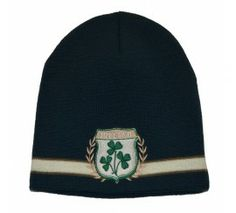 bc4871a2639 Beanie Hat with Ireland Crest and Cream Band