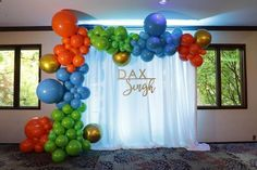 First Birthday Organic Balloon Arch with LED Curtain Background – Organic Balloon Decor - Balloon ideas Balloon Centerpieces, Balloon Decorations, Balloon Ideas, Balloon Wall, Balloon Arch, Tiffany Blue Weddings, Pipe And Drape, Pokemon Party, Blue Balloons