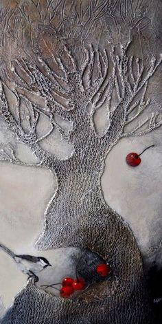 elfi cella bird and tree Art Du Collage, Collage Art Mixed Media, Textile Fiber Art, Unusual Art, Encaustic Painting, Art Graphique, Mix Media, Klimt, Embroidery Art