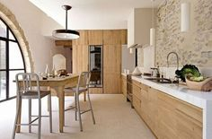 Just beautiful. Modern light wood kitchen design. Stone.