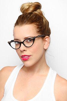 'Betty Jo' Rhinestone Cat Eye Clear Glasses - Light Tortoise - 1102-2