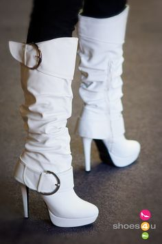 Wild Rose Buckle Knee High Slouchy Boot (White) - Shoes 4 U Las Vegas from Shoes 4 U. Saved to My Shoes. Leather High Heels, High Heel Boots, Heeled Boots, Bootie Boots, White Leather Boots, Cute Boots, Sexy Boots, Crazy Shoes, Me Too Shoes