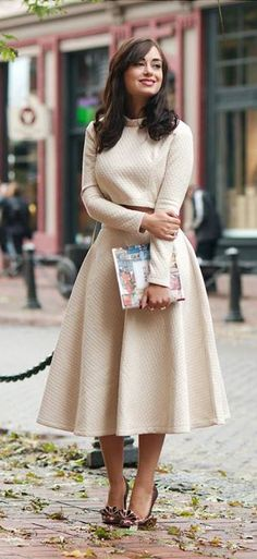 Quilted Crop Top and Midi Skirt Set in Cream