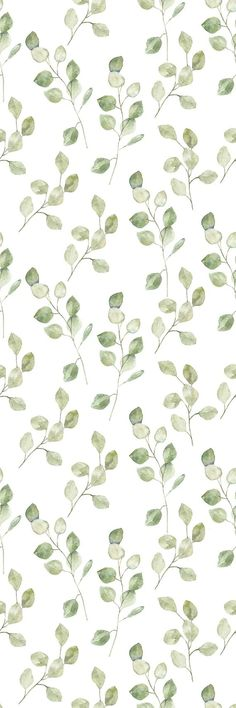 Rhian Removable Green Leaves on White Background 6.25' L x 25