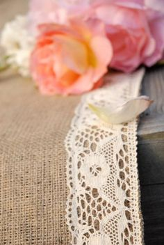 Wedding Aisle Runner, Ships ASAP,  Crochet Ivory Lace Trimmed Burlap Runner 25 feet Long