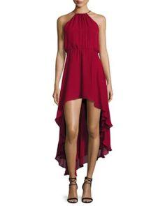TDAJB Haute Hippie Silk Asymmetric High-Low Dress, Crimson