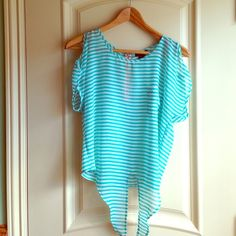 Striped blouse Turquoise striped blouse with front pocket. 100% Polyester Timing Tops Blouses