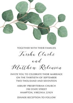 This listing is for a customized/personalized Green Leaves Wedding Invitation - Wedding Invitation Suite Set - Eucalyptus Watercolor Leaves - Digital Printable Invitation PRINTABLE INVITATION IN DIGITAL FORMAT. The card is available in 5x7 in portrait. Both the RSVP and Detail Cards are 5x3.5 **If you are interested in only one piece of this invitation suite, please send me a convo For more wedding invitations, click here: https://www.etsy.com/shop/FreelyFatimaDesig...