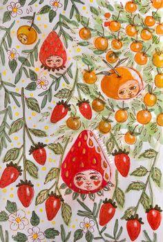 fruit people by - - Pintura Hippie, Art Sketches, Art Drawings, Illustration Art, Illustrations, Illustration Children, Posca Art, Hippie Art, Alphonse Mucha