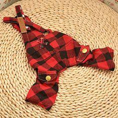 Estilo Inglaterra Plaid Pattern Calças Suspender para cães (cores sortidas, XS-XL) – BRL R$ 29,96