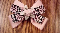 Double Pink Flower Hair Bow For Girls by GloriaMillerCreation, $7.00