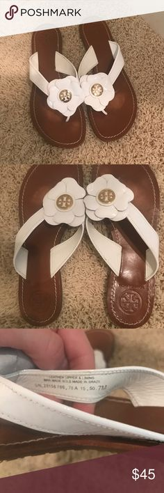 Tory Burch Adalia Flower White Sandals. Size 7 EUC. Fun and adorable Tory Burch Adalia Flower Flip Flops White Sandals. Comes from a smoke free and pet home. Size 7. Tory Burch Shoes Sandals