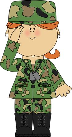 Soldier Waving Clip Art Image Girl Wearing A Camoflauge Military Military Party, Army Party, Military Girl, School Wide Themes, School Clipart, Clip Art, Community Helpers, Girls Camp, Clips