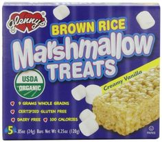 Glenny's Brown Rice Marshmallow Treats, Vanilla, 5-Count Boxes (Pack of 6) by Glenn Foods, http://www.amazon.com/dp/B001MUC0PU/ref=cm_sw_r_pi_dp_ylLpsb15VT0N9