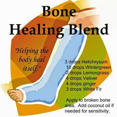 Use oils that vibrate to the frequency of muscle and bone. You will have decreased swelling and bruising (maybe none) and faster knitting of the bone. For FREE SAMPLES 209-204-9452 website: http://mydoterra.com/dreamjob