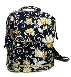 Vera Bradley Backpack Yellow Bird Retired Black Yellow White Back To School #VeraBradley #BackpackStyle