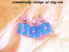 Periwinkle Blue Beaded Charms Jewelry and by RomanticallyVintage