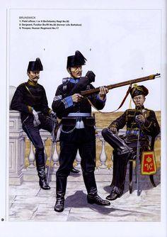 BRUNSWICK. 1:Field officer,I or II Bn/Infantry Regt. No.92.2:Sergeant,Fusilier Bn/IR No.92 (former Life Battalion).3:Trooper,Hussar Regiment No.17.