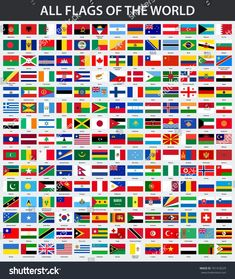 All Flags World Alphabetical Order Stock Vector (Royalty Free) 761418229 World Flags With Names, All World Flags, All Flags, Countries And Flags, Countries Of The World, 100 Chart Printable, European Day Of Languages, Pictures Of Flags, Minecraft Banner Designs