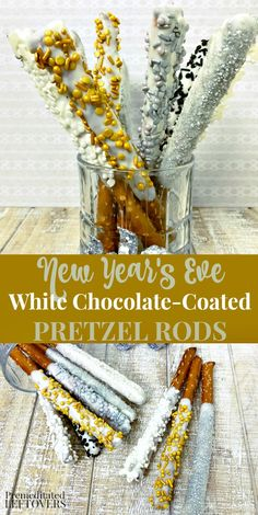 New Year's Pretzel Rods Recipe Make your New Year's celebration sparkle a little brighter with this cute New Year's Eve Pretzel Rod Recipe. They add a sweet spot to your party buffet that guests won't be able to resist! Tasty New Year's Eve Food ideas! New Years Eve Dessert, New Years Eve Party Ideas Food, Kids New Years Eve, New Years Eve Food, New Years Eve Dinner, New Years Eve Decorations, New Years Party, New Year's Desserts, Party Desserts