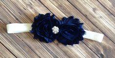 Navy Shabby Flower and Ivory OR White Glitter Headband, Baby Headband, Toddler Headband, Girls Headband on Etsy, $5.00