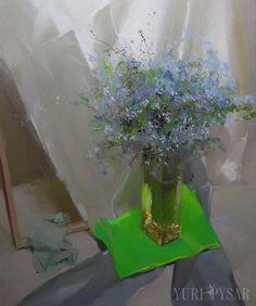 Yuri Pisar  Ölgemälde Stilleben, Blumen Malerei floral, blaue Leinwand Kunstwerke Blumenstrauß