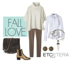 """""""Etcetera: FAIRBANKS poncho sweater, SMART stretch pant, SWAN white blouse."""" by etcetera-nyc ❤ liked on Polyvore"""