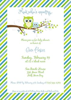 Gina Owl Baby Shower Invitation (BOY)   Digital File, You Print OR I Print