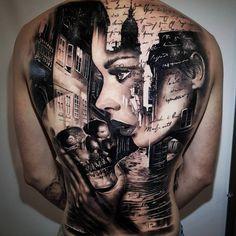 Black and grey Back tattooo Art