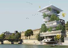 """Concorso Internazionale per la progettazione di un nuovo Champagne Bar a Parigi, lungo la Senna e vicino al """"Pont des Arts""""."""
