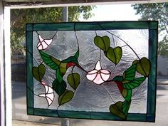 Used Stained Glass Panels   hummingbirds_with_petunias_stained_glass_panel_b6dc9004.jpg