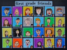Self-Portraits Grade Class Art Auction Projects, Cute Art Projects, Class Art Projects, Classroom Art Projects, Art Classroom, Self Portrait Kids, Portraits For Kids, Self Portrait Drawing, Creative Self Portraits