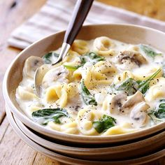 Creamy Slow Cooker Tortellini Soup..  for additional recipes join us on facebook @ Healthy is the new sexy